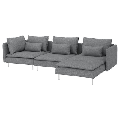 SÖDERHAMN 4-zitsbank met chaise longue/Lejde grijs/zwart 291 cm 40 cm