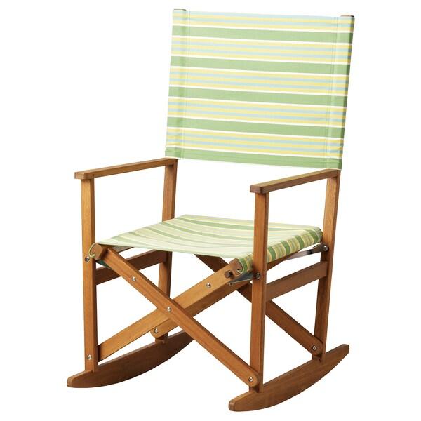 SOLBLEKT schommelstoel opklapbaar eucalyptus/gestreept groen 100 kg 60 cm 75 cm 110 cm 45 cm 52 cm 46 cm