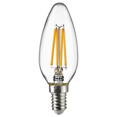 SOLHETTA Led-lamp E14 250 lumen, kaarslamp/helder