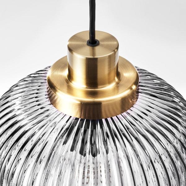 SOLKLINT Hanglamp, messing/grijs helder glas, 22 cm