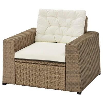 SOLLERÖN fauteuil, buiten bruin/Kuddarna beige 98 cm 82 cm 84 cm 62 cm 56 cm 40 cm