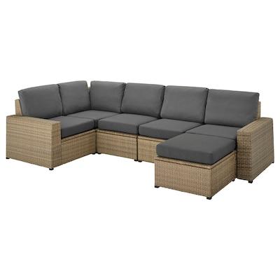 SOLLERÖN modulaire hoekbank, 4-zits, buiten met voetenbank bruin/Frösön/Duvholmen donkergrijs 82 cm 88 cm 287 cm 162 cm 2 cm 48 cm 44 cm 62 cm 62 cm