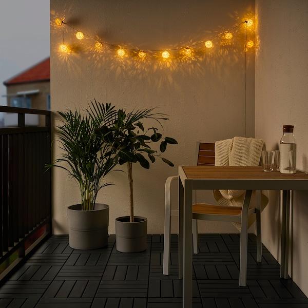 SOLVINDEN Led-lichtsnoer met 12 lampjes, op batterijen/wit beige