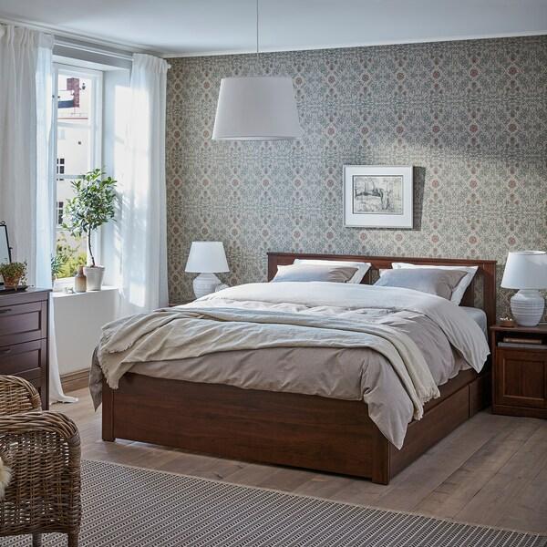 SONGESAND bedframe met 2 bedlades bruin 14 cm 207 cm 153 cm 56 cm 64 cm 41 cm 95 cm 200 cm 140 cm