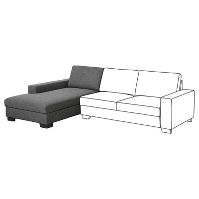 SÖRVALLEN Chaise longue element, links/Lejde donkergrijs