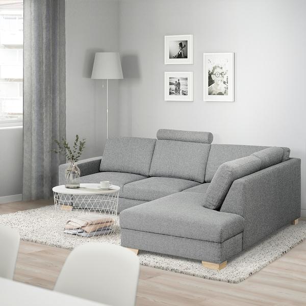 SÖRVALLEN Hoekbank, 3-zits, met open eind, rechts/Lejde grijs/zwart