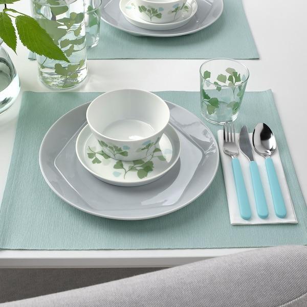 STILENLIG Schaal, bladpatroon wit/groen, 13 cm