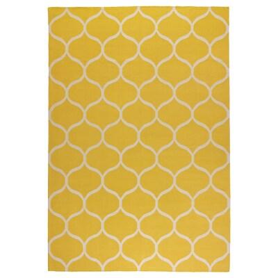 STOCKHOLM Vloerkleed, glad geweven, handgemaakt/netpatroon geel, 170x240 cm