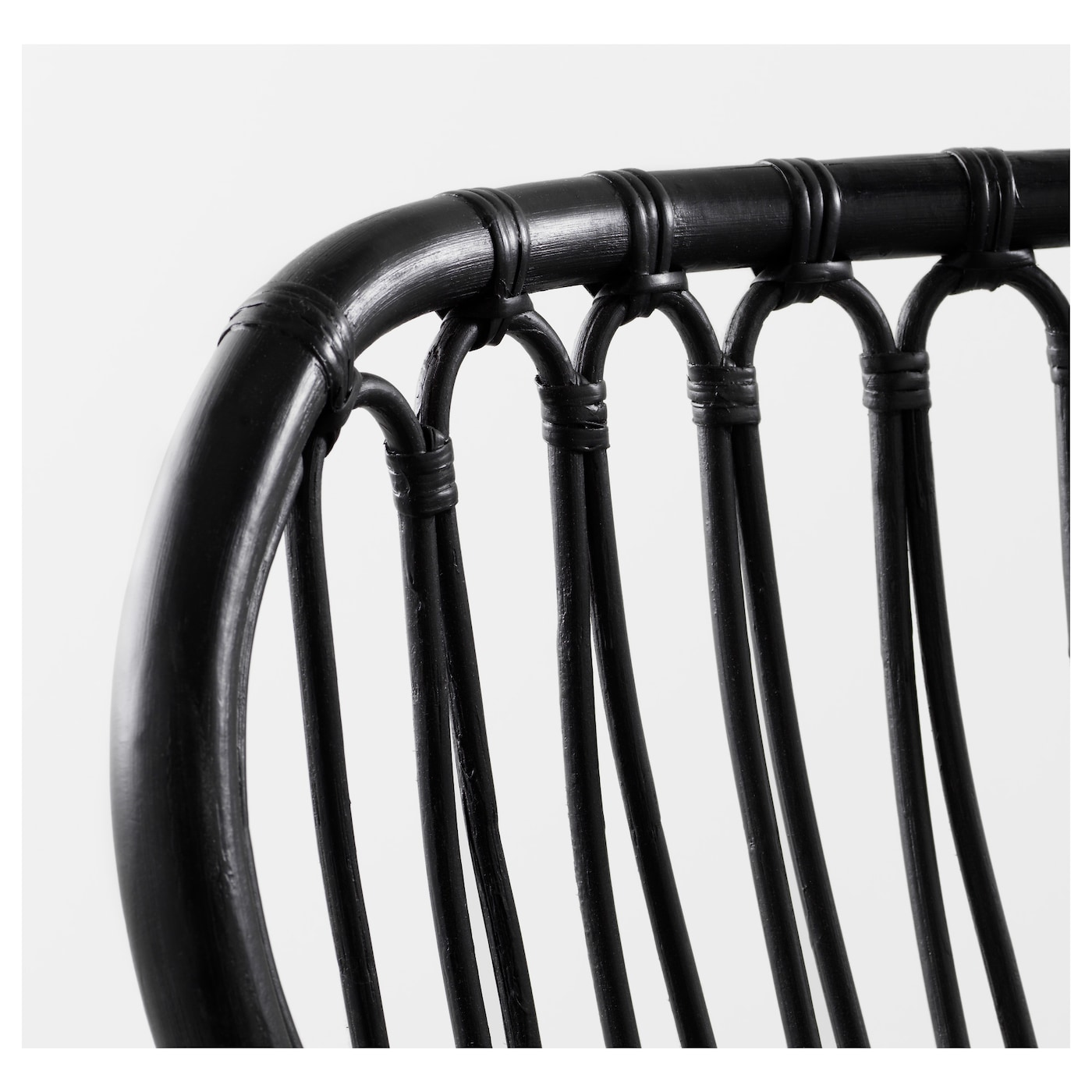 STORSELE Fauteuil met hoge rugleuning, zwart/rotan