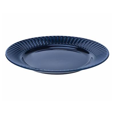 STRIMMIG Bord, aardewerk blauw, 27 cm