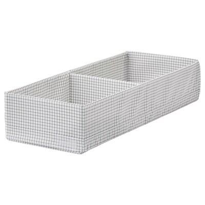STUK doos met vakken wit/grijs 20 cm 51 cm 10 cm