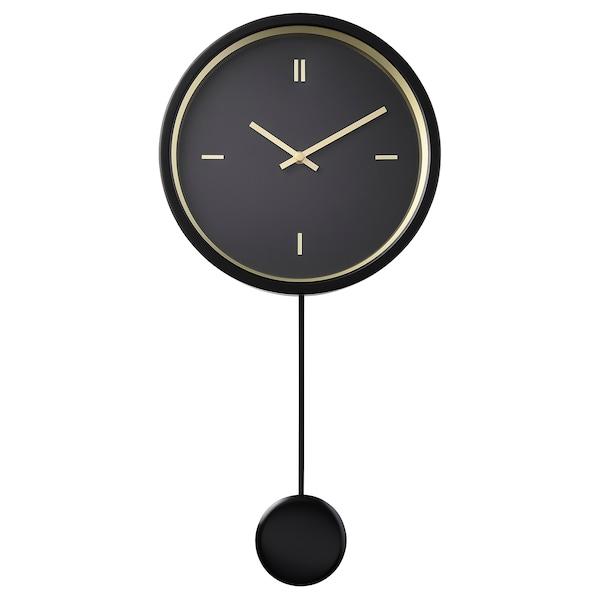STURSK wandklok zwart 7.5 cm 54 cm 26 cm