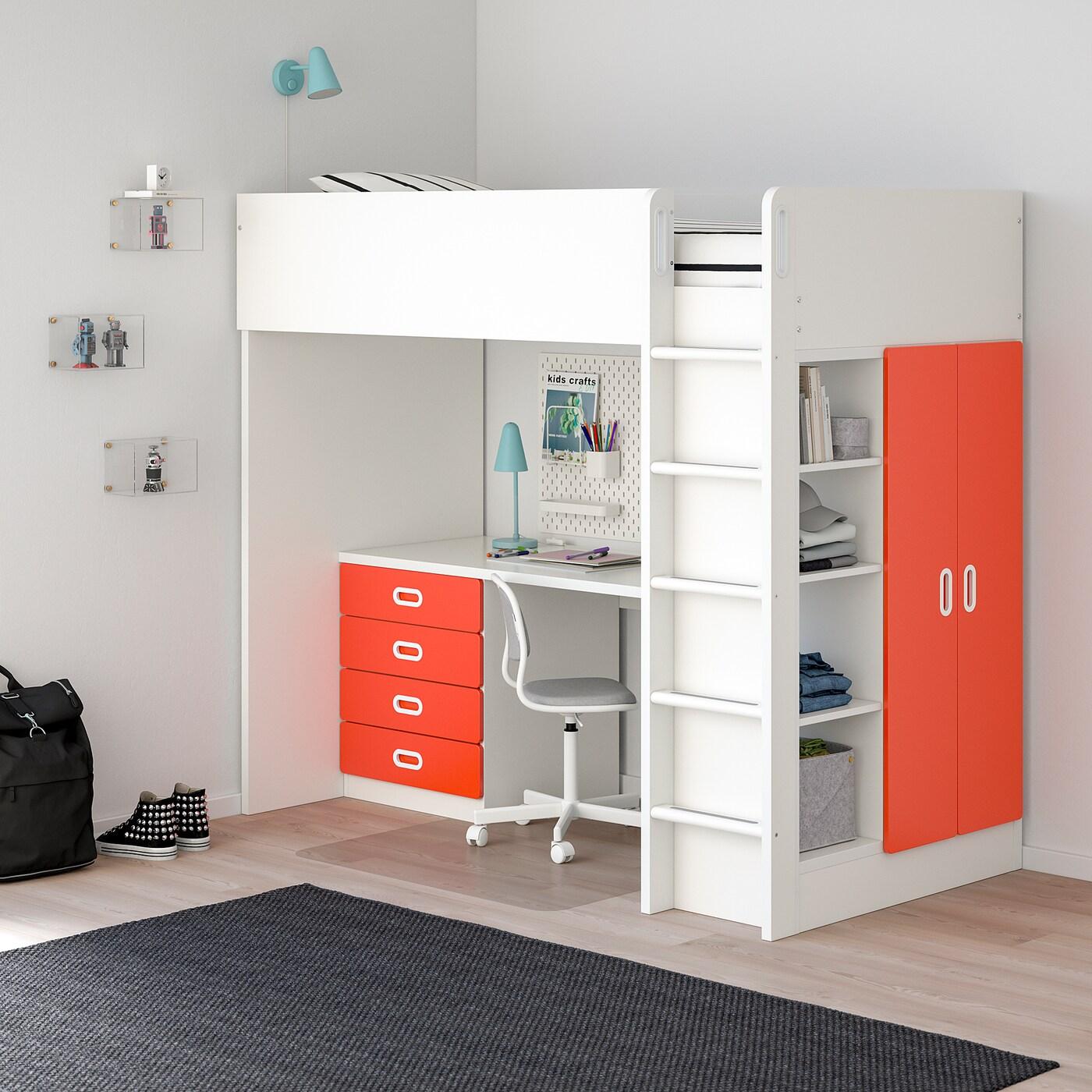 STUVA / FRITIDS hoogslapercombi m 4 lades/2 deuren wit/rood 155 cm 62 cm 74 cm 182 cm 142 cm 99 cm 207 cm 100 kg 200 cm 90 cm 20 cm
