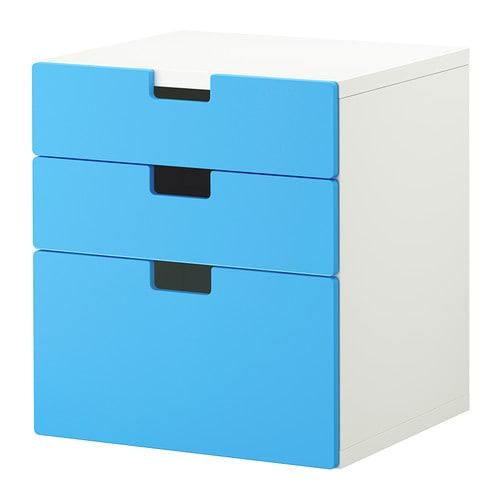 STUVA Ladekast 3 lades , blauw Breedte: 60 cm Diepte: 50 cm Hoogte: 64 cm