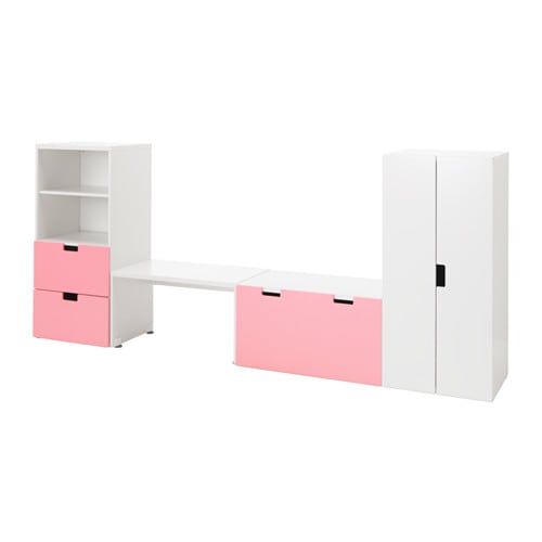 stuva opbergcombinatie met bank wit roze ikea. Black Bedroom Furniture Sets. Home Design Ideas