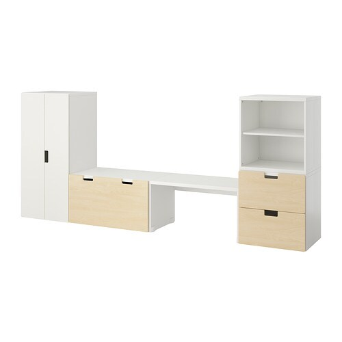 stuva opbergcombinatie met bank wit berken ikea. Black Bedroom Furniture Sets. Home Design Ideas