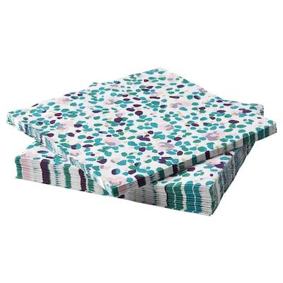 TACKSAMHET Papieren servet, met een patroon/veelkleurig, 33x33 cm
