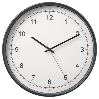 TAGGAD Wandklok, wit/grijs, 38 cm