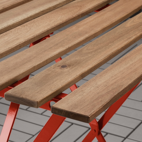 TÄRNÖ Tafel+2 stoelen, buiten, rood/lichtbruin gelazuurd/Kuddarna beige