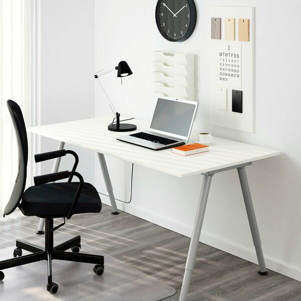 THYGE bureau wit/zilverkleur 160 cm 80 cm 60 cm 90 cm 80 kg