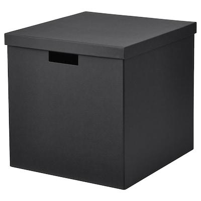 TJENA doos met deksel zwart 35 cm 32 cm 32 cm