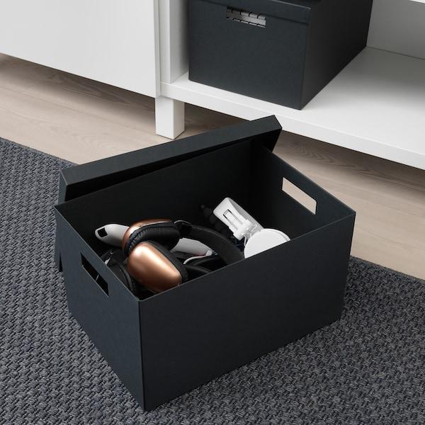 TJENA doos met deksel zwart 35 cm 25 cm 20 cm