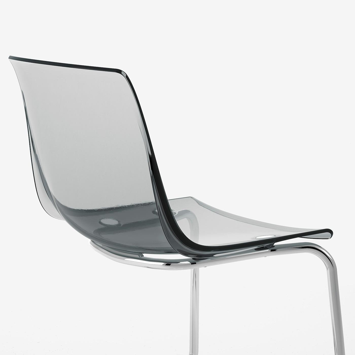 TOBIAS Eetkamerstoel, grijs, verchroomd IKEA