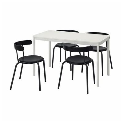 TOMMARYD / YNGVAR Tafel en 4 stoelen, wit/antraciet, 130x70 cm