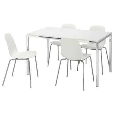 TORSBY / LEIFARNE Tafel en 4 stoelen, hoogglans wit/wit, 135 cm