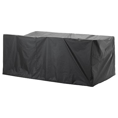 TOSTERÖ Hoes voor buitenmeubels, eettafel en stoelen/zwart, 260x148 cm
