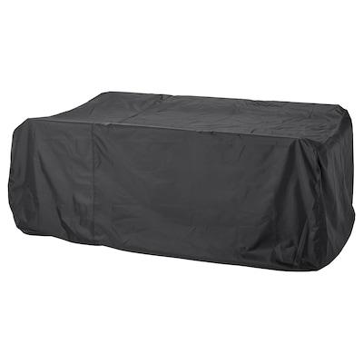TOSTERÖ Hoes voor tuinset, eettafel en stoelen/zwart, 215x135 cm