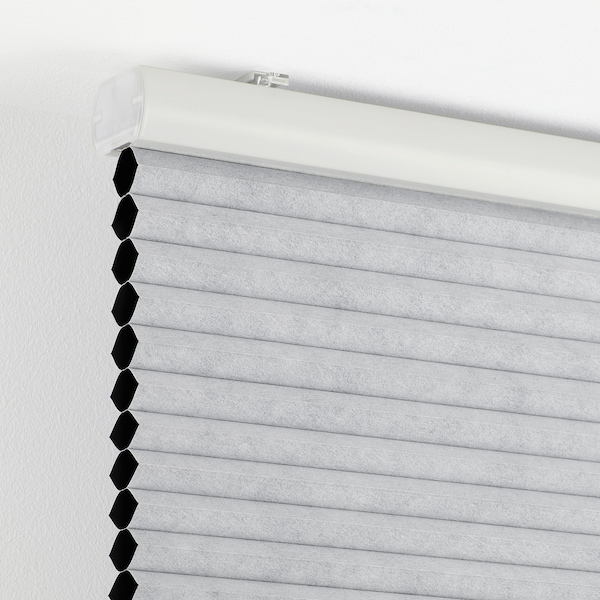TRIPPEVALS Verduisterend plisségordijn, lichtgrijs, 140x195 cm
