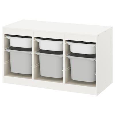 TROFAST Opbergcombinatie met bakken, wit/grijs, 99x44x56 cm