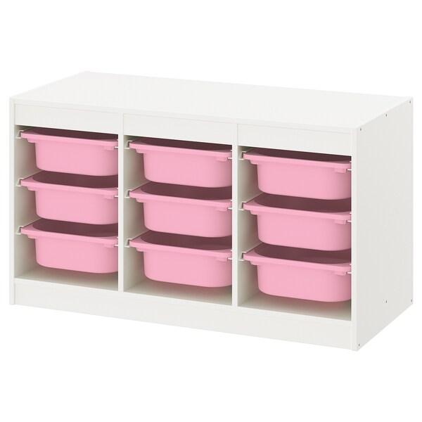 TROFAST Opbergcombinatie met bakken, wit/roze, 99x44x56 cm