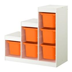 TROFAST opbergcombinatie, wit en oranje