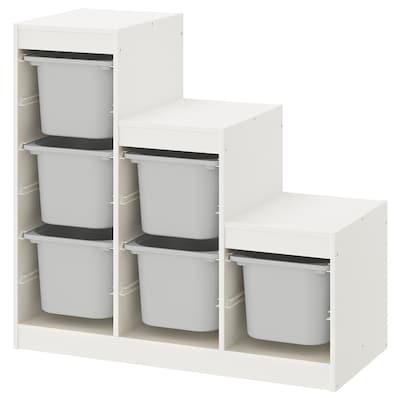 TROFAST Opbergcombinatie, wit/grijs, 99x44x94 cm
