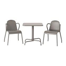 Grijze tuinset, tafel en 2 stoelen, TUNHOLMEN