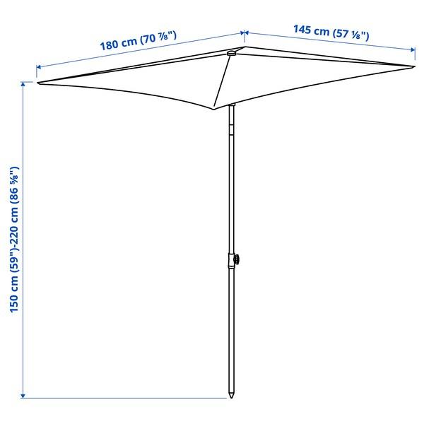 TVETÖ Parasol, kantelbaar/grijsbeige wit, 180x145 cm