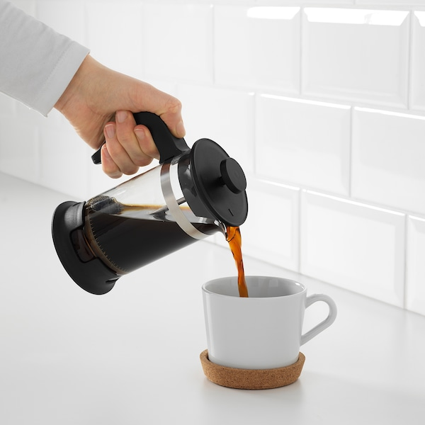 UPPHETTA Koffie-/theemaker, glas/roestvrij staal, 0.4 l