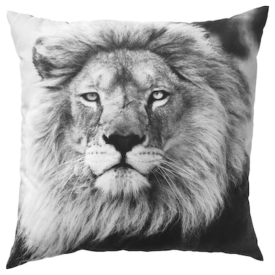 URSKOG Kussen, leeuw/grijs, 50x50 cm