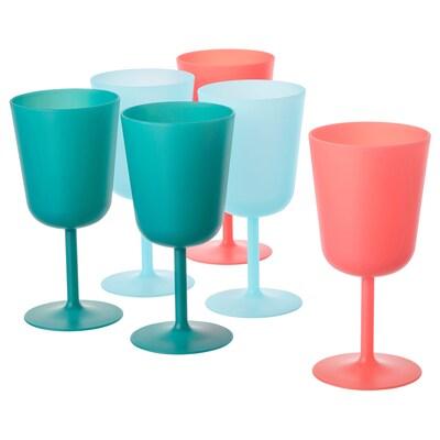 UTEFEST wijnglas gemengde kleuren 17 cm 29 cl 6 st.