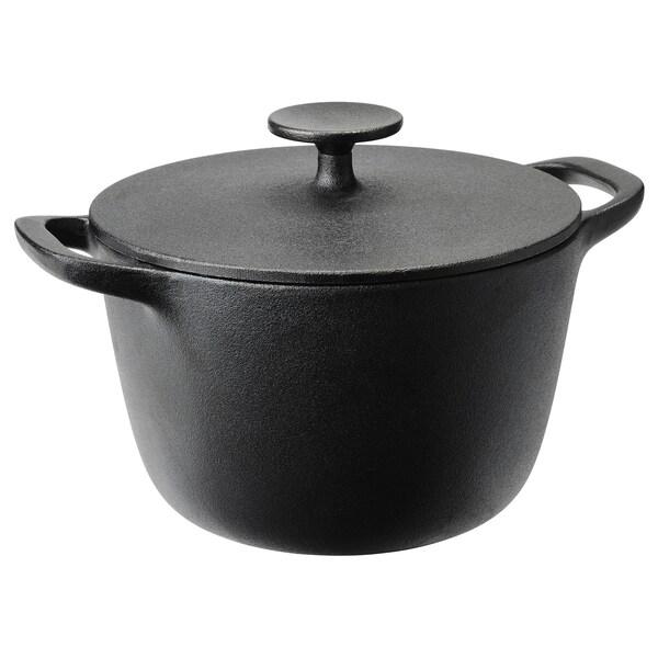 VARDAGEN Pan met deksel, gietijzer, 3 l