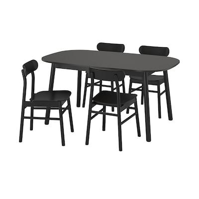 VEDBO / RÖNNINGE Tafel en 4 stoelen, zwart/zwart, 160x95 cm