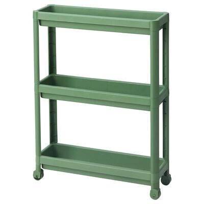 VESKEN Kastje op wielen, groen, 54x18x71 cm