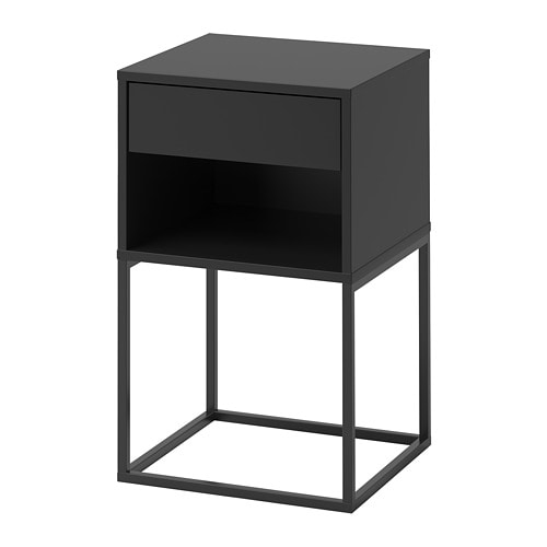 vikhammer nachtkastje zwart ikea. Black Bedroom Furniture Sets. Home Design Ideas