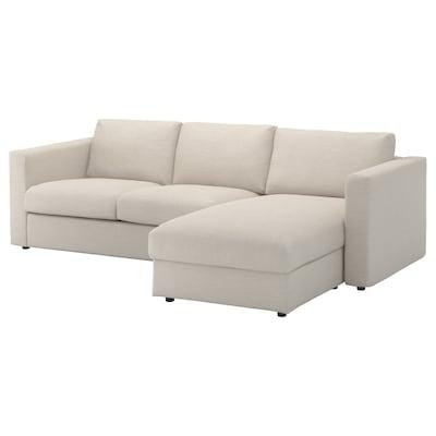 VIMLE 3-zitsbank, met chaise longue/Gunnared beige