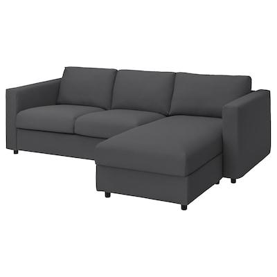 VIMLE 3-zitsbank met chaise longue, Hallarp grijs