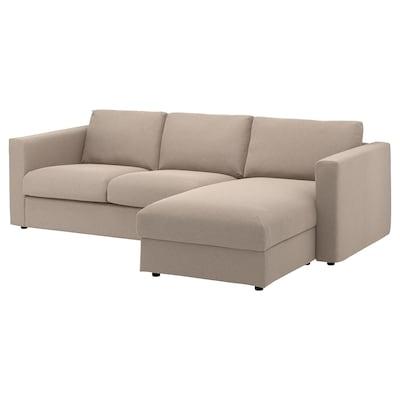 VIMLE 3-zitsbank, met chaise longue/Tallmyra beige
