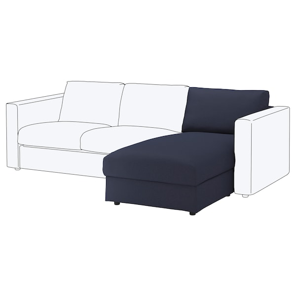 VIMLE Chaise longue element, Orrsta zwartblauw