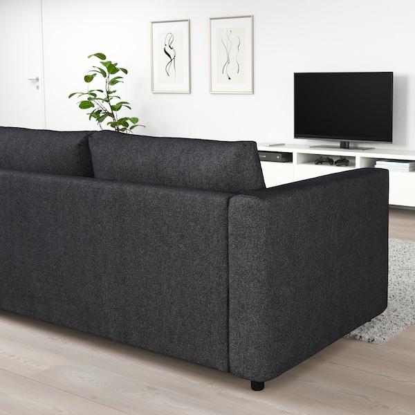 VIMLE Hoekslaapbank, 4-zits, met open eind/Tallmyra zwart/grijs